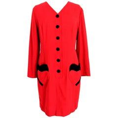 Valentino Red Black Wool Velvet Sheath Dress