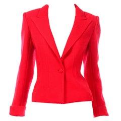 Valentino Red Boucle Wool Short Single Button Blazer Jacket