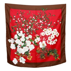Valentino Red Brown Silk Floral Scarf 1980s