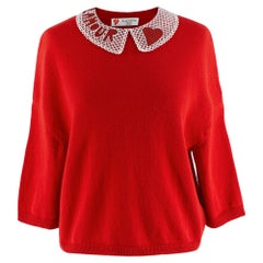 Valentino Red Cashmere Jumper with L'Amour Embellished Collar XS