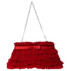 Valentino Red Chiffon and Satin Ruffled Evening Clutch