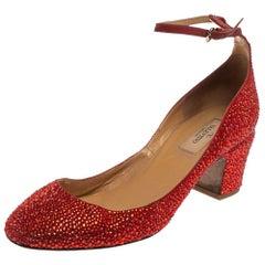 Valentino Red Crystal Embellished Suede Block Heel Ankle Strap Pumps Size 39