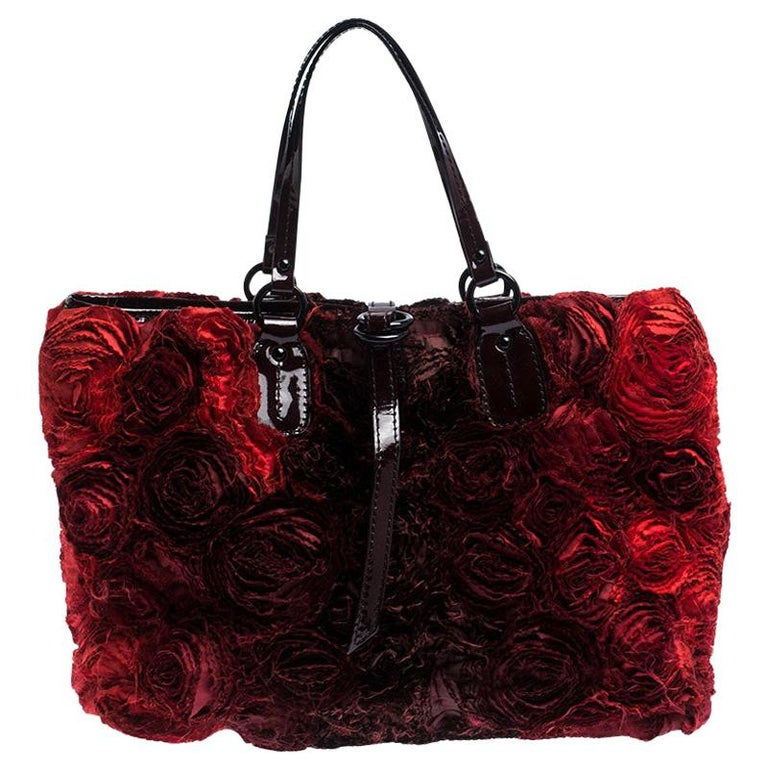 Valentino Red Floral Applique Satin and Patent Leather Shopper Tote For Sale