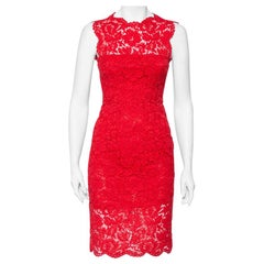 Valentino Red Floral Lace Sleeveless Sheath Dress S