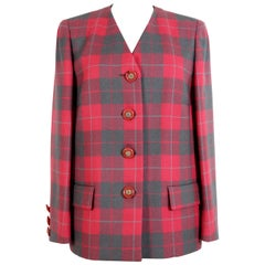 Valentino Red Green Wool Check Oversize Evening Jacket