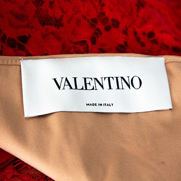 Women's Valentino Red Lace Bow Detail Sleeveless Sheath Dress M For Sale