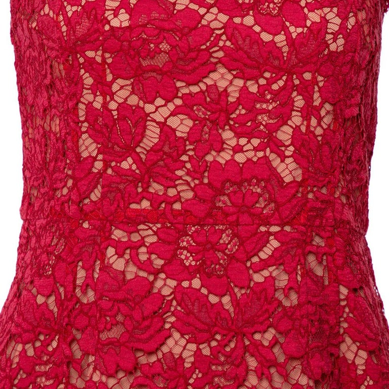 Valentino Red Lace Bow Detail Sleeveless Sheath Dress M For Sale 2