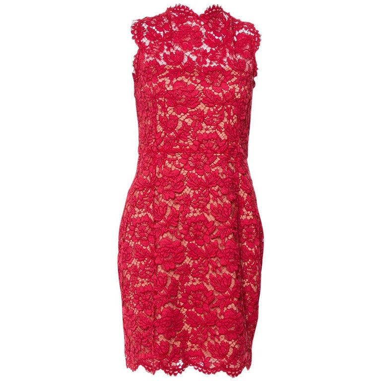 Valentino Red Lace Bow Detail Sleeveless Sheath Dress M For Sale