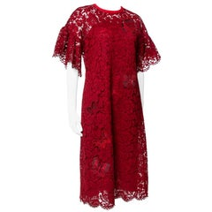 Valentino Red Lace Butterfly Appliqued Sheath Dress S