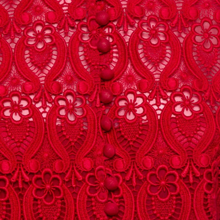 Women's Valentino Red Lace Button Front Sheath Dress M For Sale