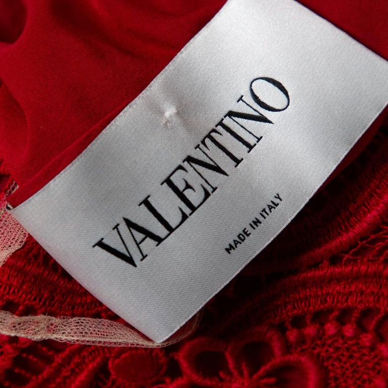 Valentino Red Lace Button Front Sheath Dress M For Sale 1