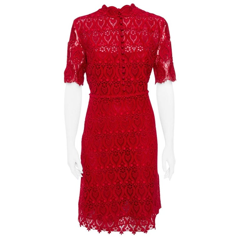 Valentino Red Lace Button Front Sheath Dress M For Sale