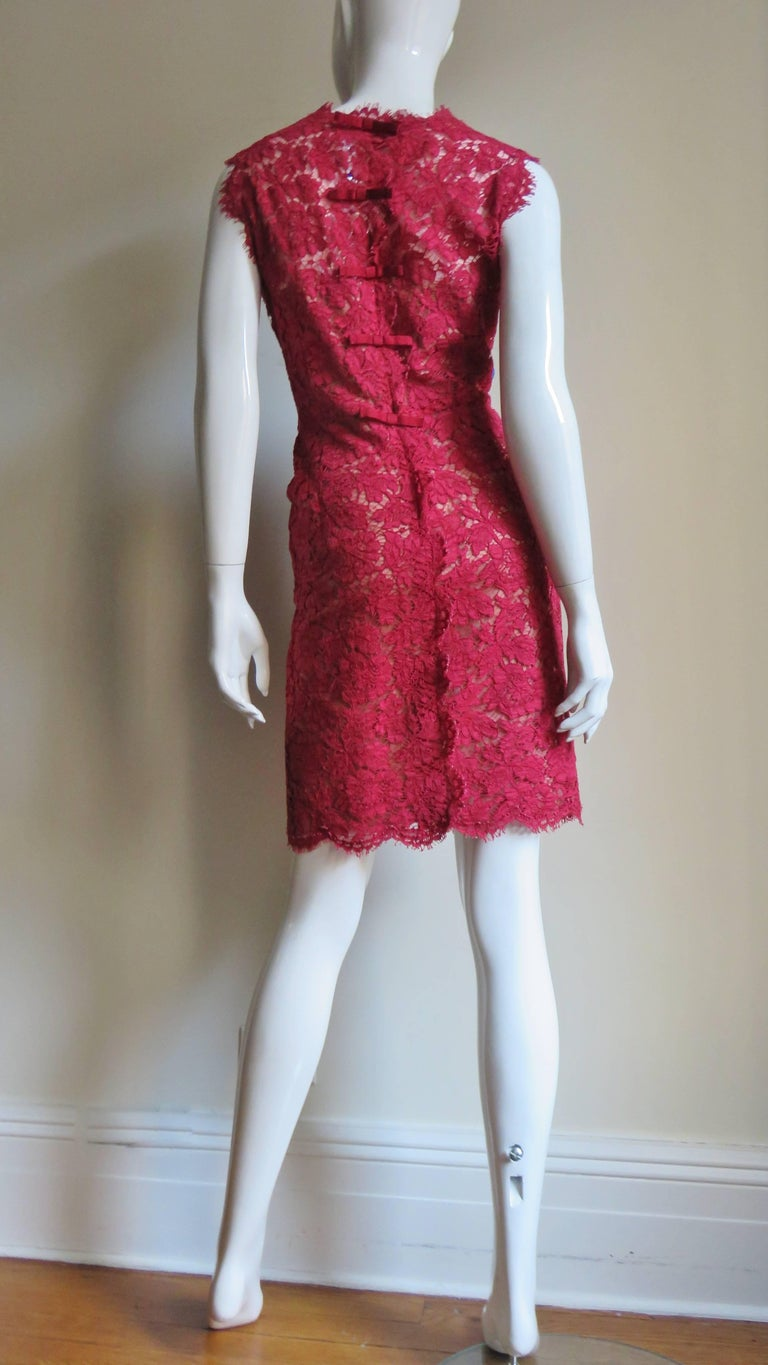 Valentino Red Lace Dress For Sale 6