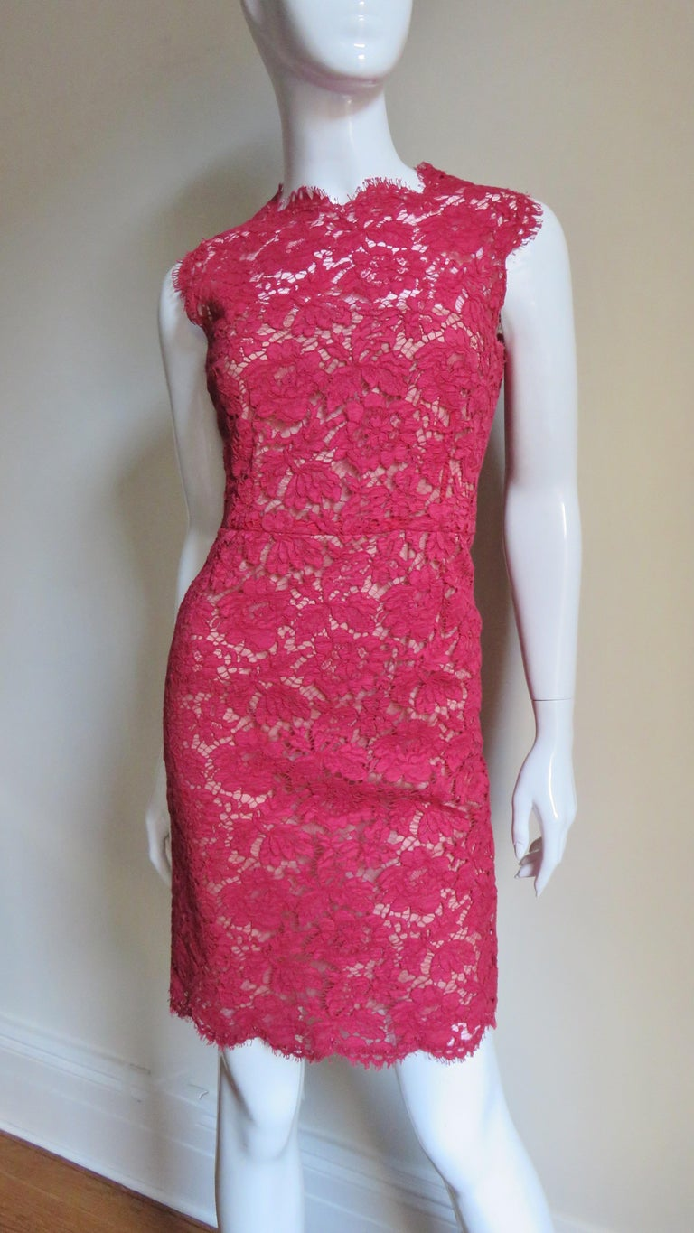 Valentino Red Lace Dress For Sale 1