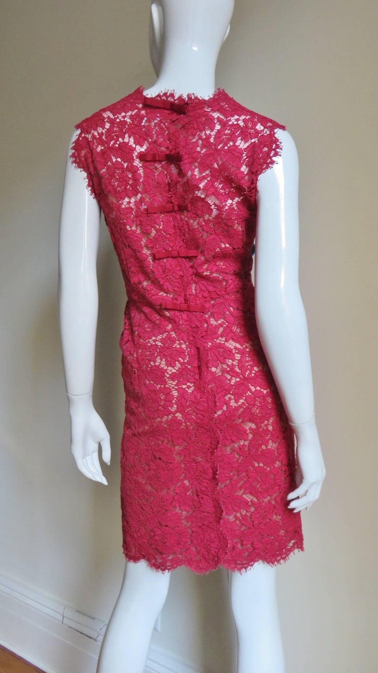 Valentino Red Lace Dress For Sale 3