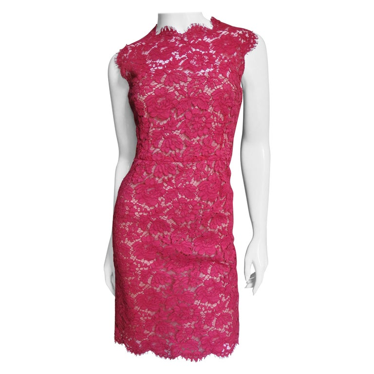 Valentino Red Lace Dress For Sale