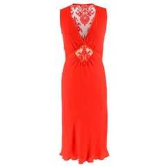 Valentino Red Lace Panelled Silk Blend Dress SIZE 40