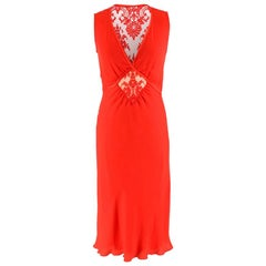 Valentino Red Lace Panelled Silk Blend Dress Size - Size US 4