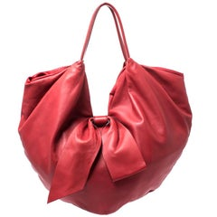 Valentino Red Leather 360 Bow Hobo