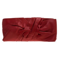Valentino Red Leather Bow Flap Clutch