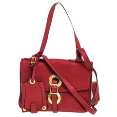 Valentino Red Leather Buckle Flap Shoulder Bag