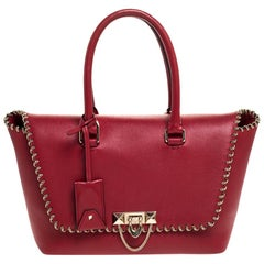 Valentino Red Leather Demilune Tote