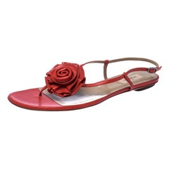 Valentino Red Leather Flower Flat Sandals Size 41