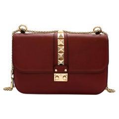 Valentino Red Leather Glam Lock Rockstud Shoulder Bag