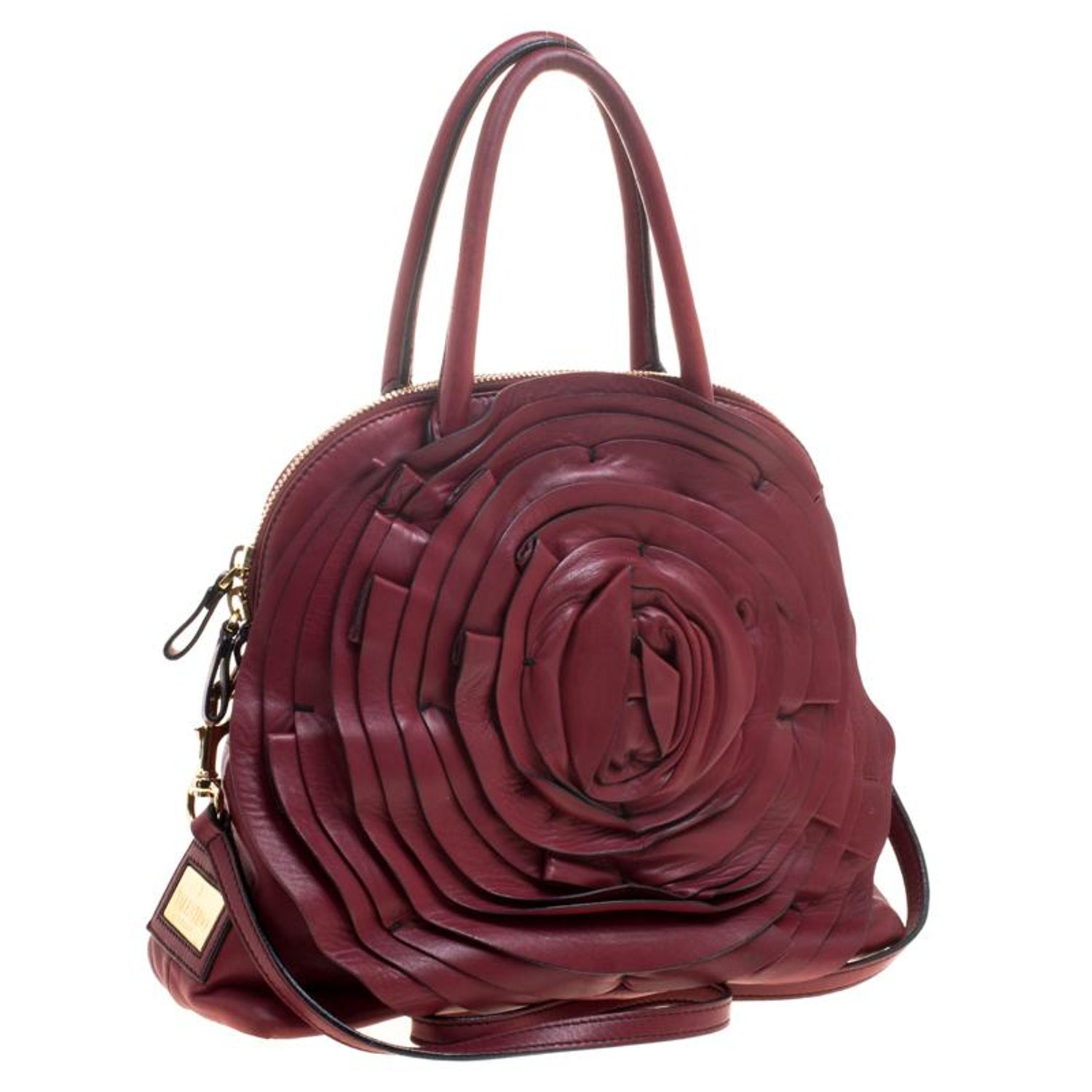 bca9b7fb64 Valentino Red Leather Petale Rose Dome Satchel For Sale at 1stdibs