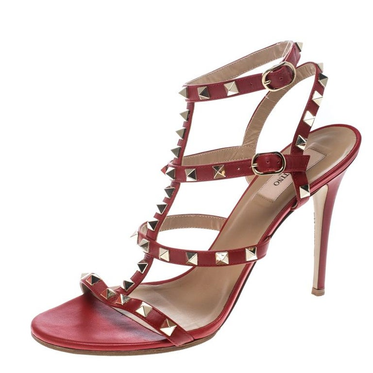 17d20e5741e6 Valentino Red Leather Rockstud Ankle Strap Cage Sandals Size 40 For Sale