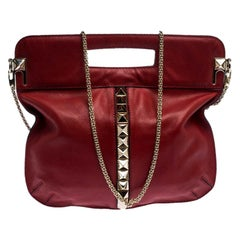 Valentino Red Leather Rockstud Chain Hobo