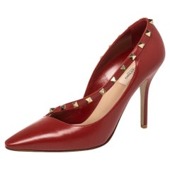 Valentino Red Leather Rockstud Cross Strap Pumps Size 41