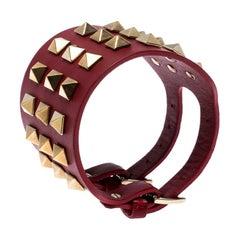 Valentino Red Leather Rockstud Cuff Bracelet