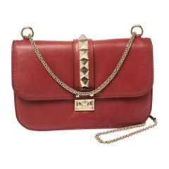 Valentino Red Leather Rockstud Medium Glam Lock Flap Bag