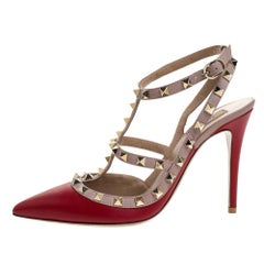 Valentino Red Leather Rockstud Pointed Toe Sandals Size 38.5