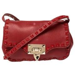 Valentino Red Leather Small Rockstud Crossbody Bag