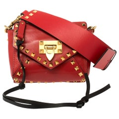 Valentino Red Leather Small Rockstud Hype Shoulder Bag