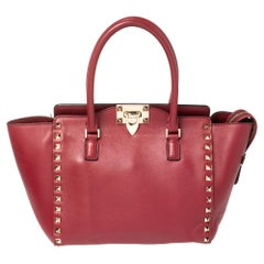 Valentino Red Leather Small Rockstud Trapeze Tote