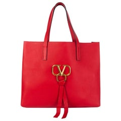 VALENTINO red leather VRING LARGE TOTE Bag