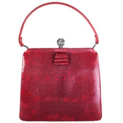 VALENTINO red LIZARD Frame Top Handle Evening Bag