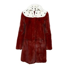 Valentino Red & Multicolor Long Mink Coat
