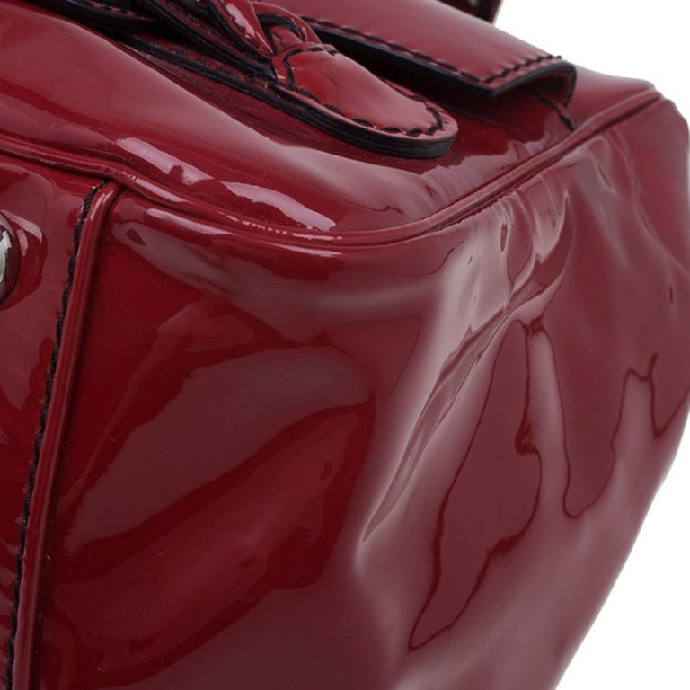 Valentino Red Patent Histoire Framed Bag For Sale 7
