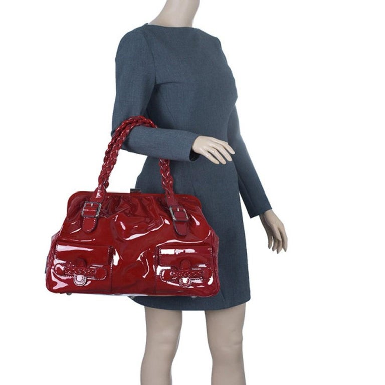 Brown Valentino Red Patent Histoire Framed Bag For Sale