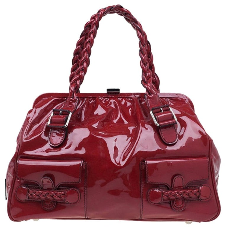 Valentino Red Patent Histoire Framed Bag For Sale