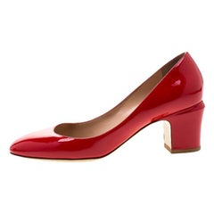 Valentino Red Patent Leather Block Heel Pumps Size 39