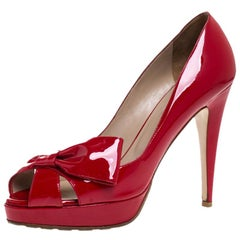 Valentino Red Patent Leather Bow Open Toe Platform Pumps Size 40