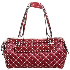 Valentino Red Quilted Leather Rockstud Boston Bag