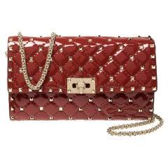 Valentino Red Quilted Patent Leather Rockstud Spike Shoulder Bag