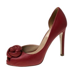 Valentino Red Rose Applique Leather D'Orsay Pumps Size 36