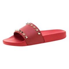 Valentino Red Rubber Rockstud Slide Sandals Size 38